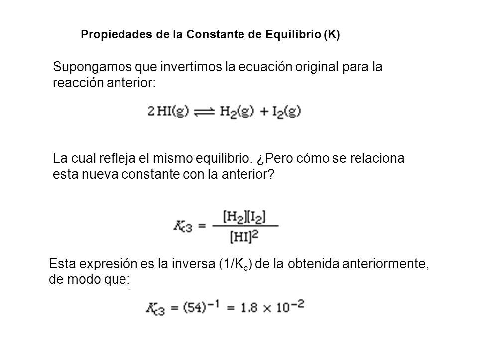 Propiedades de la Constante de Equilibrio (K)