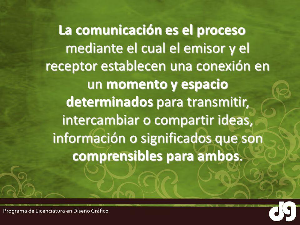 La comunicación es el proceso mediante el cual el emisor y el receptor establecen una conexión en un momento y espacio determinados para transmitir, intercambiar o compartir ideas, información o significados que son comprensibles para ambos.