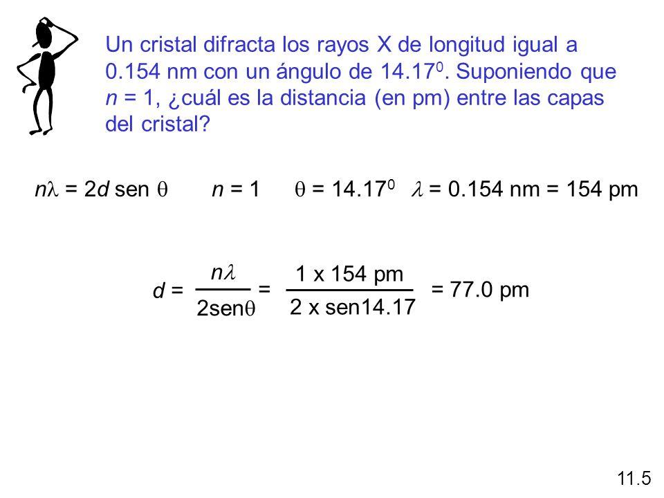 Un cristal difracta los rayos X de longitud igual a 0