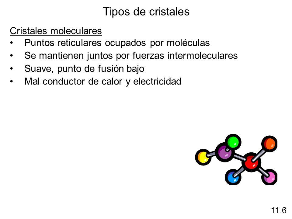 Tipos de cristales Cristales moleculares