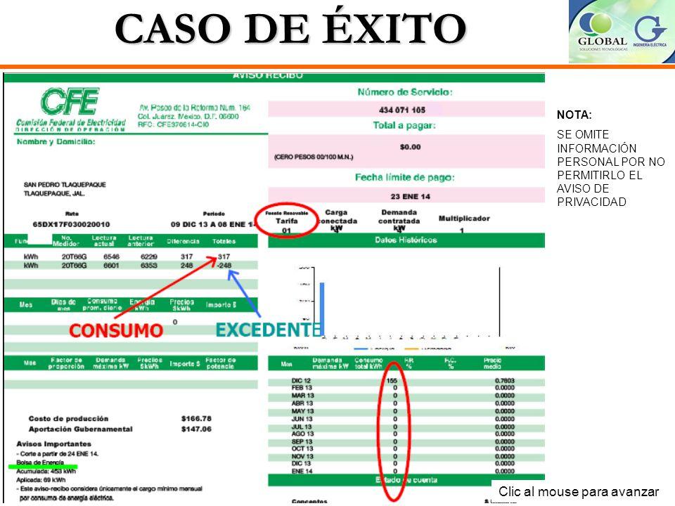 CASO DE ÉXITO Clic al mouse para avanzar NOTA: