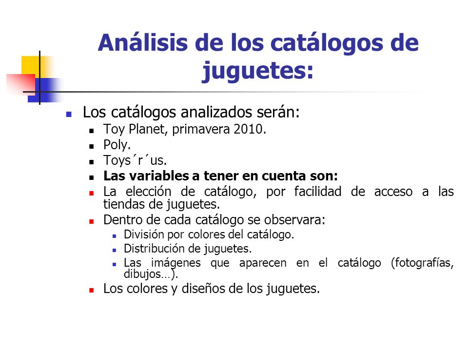 Análisis de los catálogos de juguetes:
