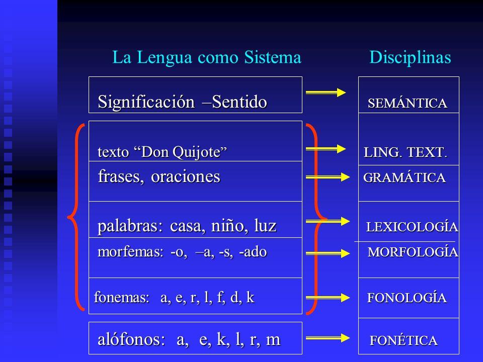La lengua como sistema La Lengua como Sistema Disciplinas Disciplina
