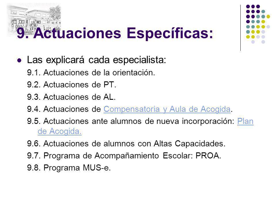 9. Actuaciones Específicas: