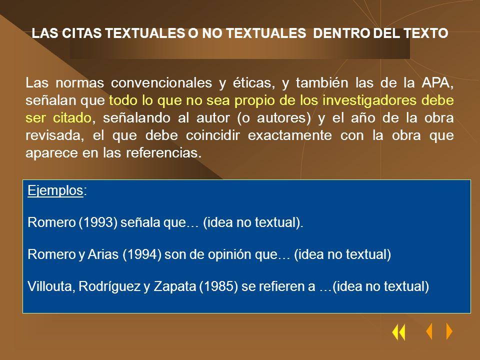 LAS CITAS TEXTUALES O NO TEXTUALES DENTRO DEL TEXTO