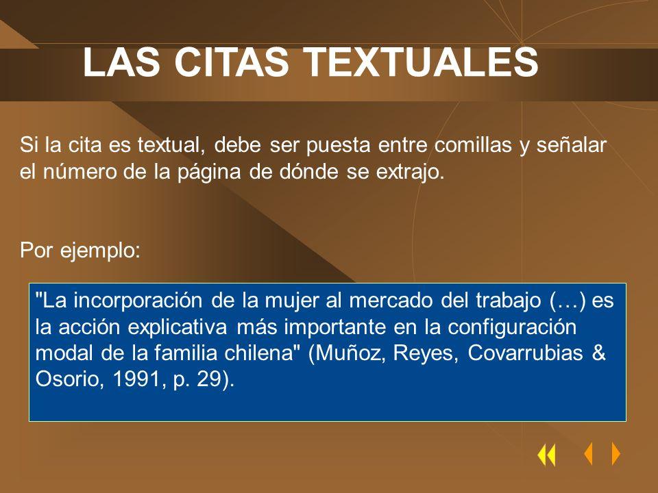 LAS CITAS TEXTUALES Si la cita es textual, debe ser puesta entre comillas y señalar el número de la página de dónde se extrajo.