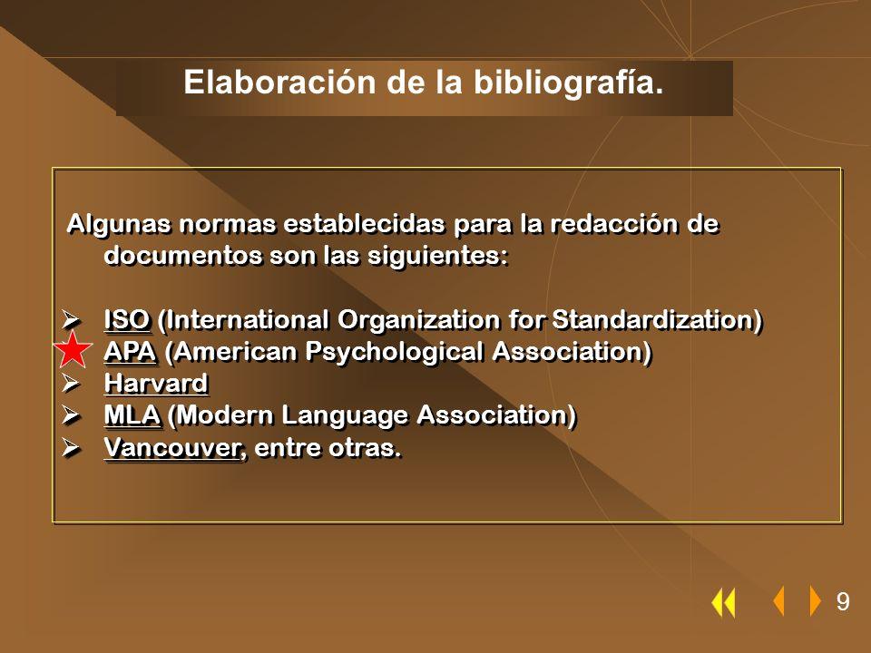 Elaboración de la bibliografía.