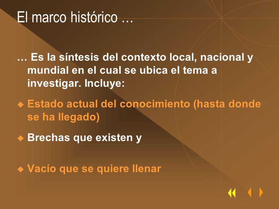 El marco histórico … … Es la síntesis del contexto local, nacional y mundial en el cual se ubica el tema a investigar. Incluye: