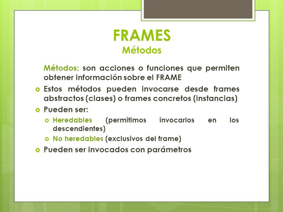 FRAMES Métodos Métodos: son acciones o funciones que permiten obtener información sobre el FRAME.