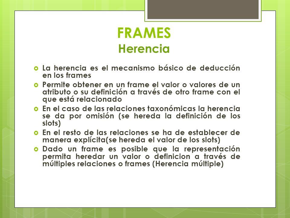 FRAMES Herencia La herencia es el mecanismo básico de deducción en los frames.