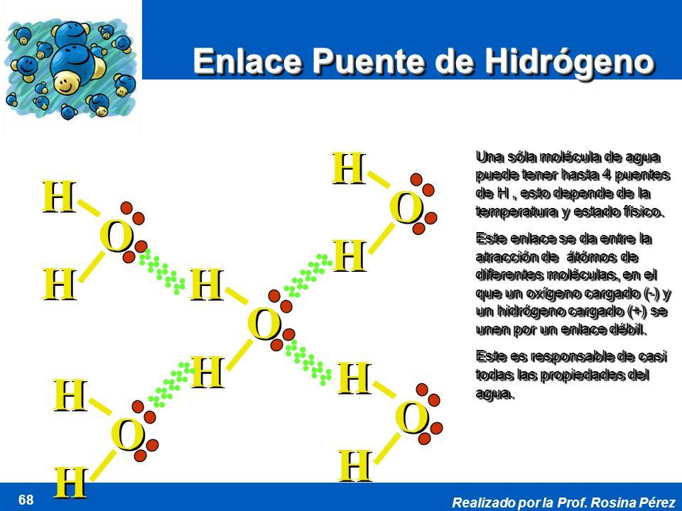 H H O O H O H H O O Enlace Puente de Hidrógeno d + d -