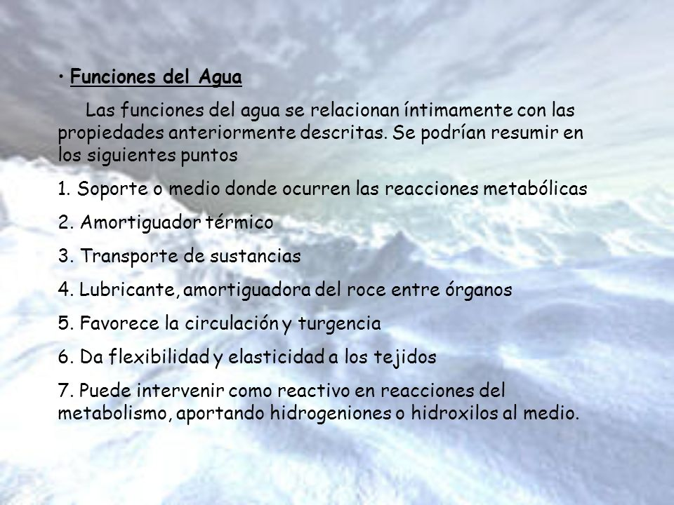 Funciones del Agua