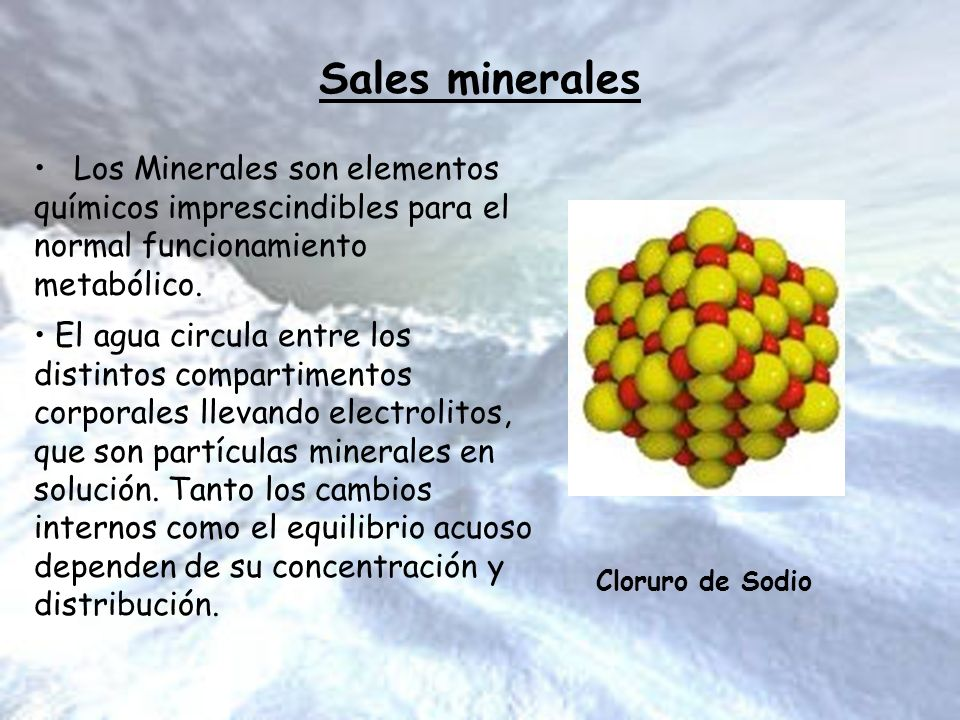 Sales minerales Los Minerales son elementos químicos imprescindibles para el normal funcionamiento metabólico.
