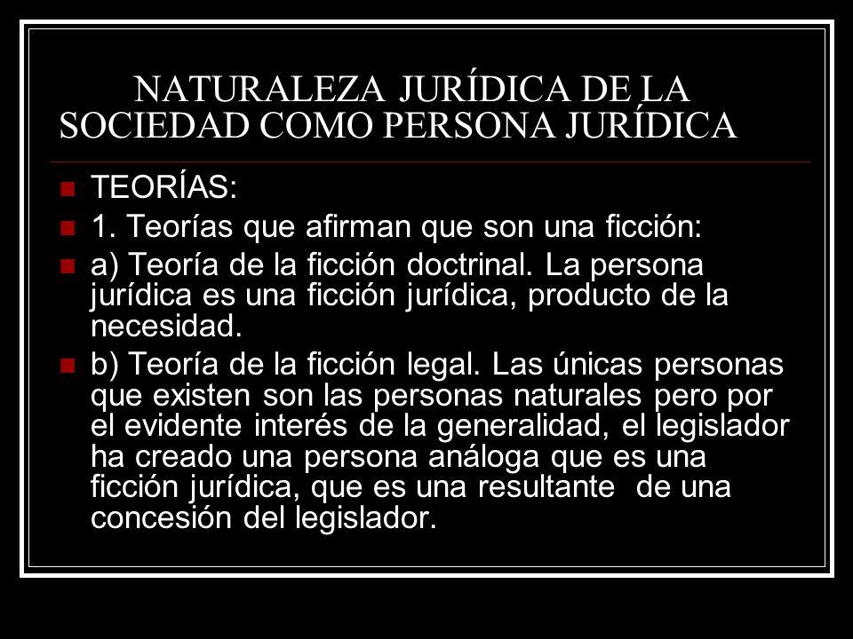 NATURALEZA JURÍDICA DE LA SOCIEDAD COMO PERSONA JURÍDICA