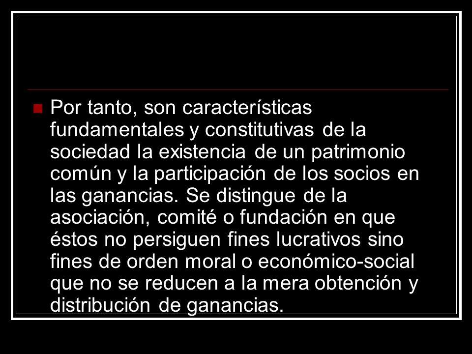 Por tanto, son características fundamentales y constitutivas de la sociedad la existencia de un patrimonio común y la participación de los socios en las ganancias.