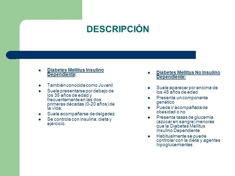DESCRIPCIÓN Diabetes Mellitus Insulino Dependiente: