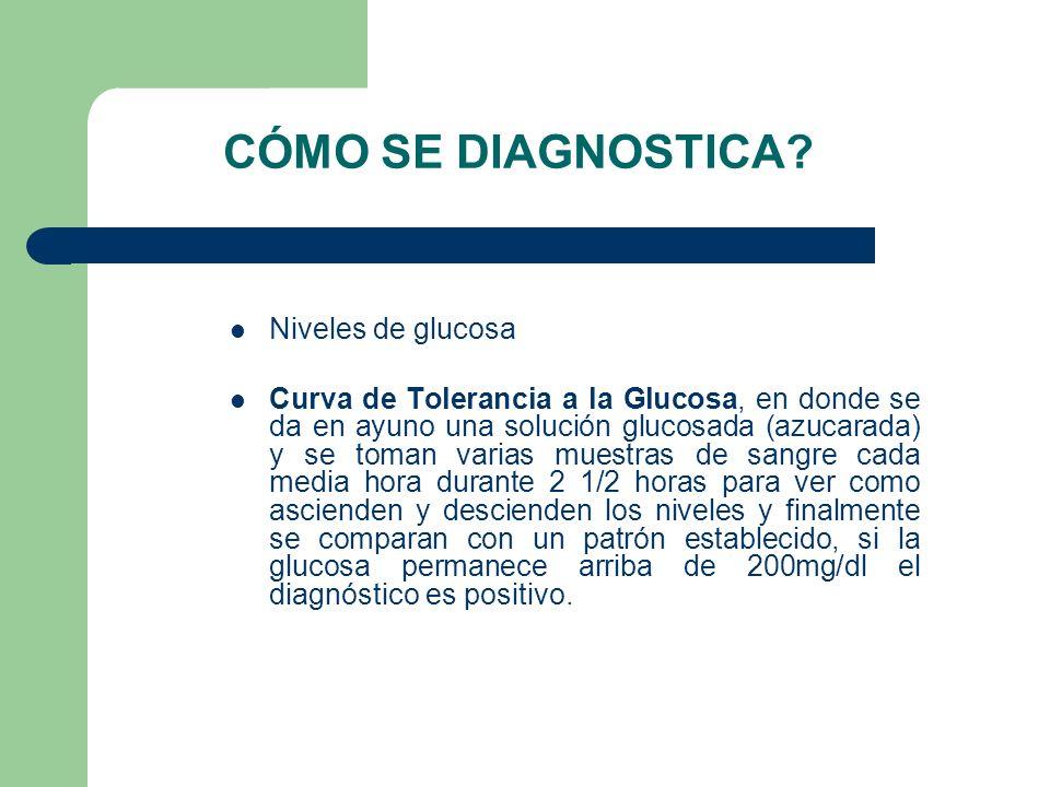 CÓMO SE DIAGNOSTICA Niveles de glucosa