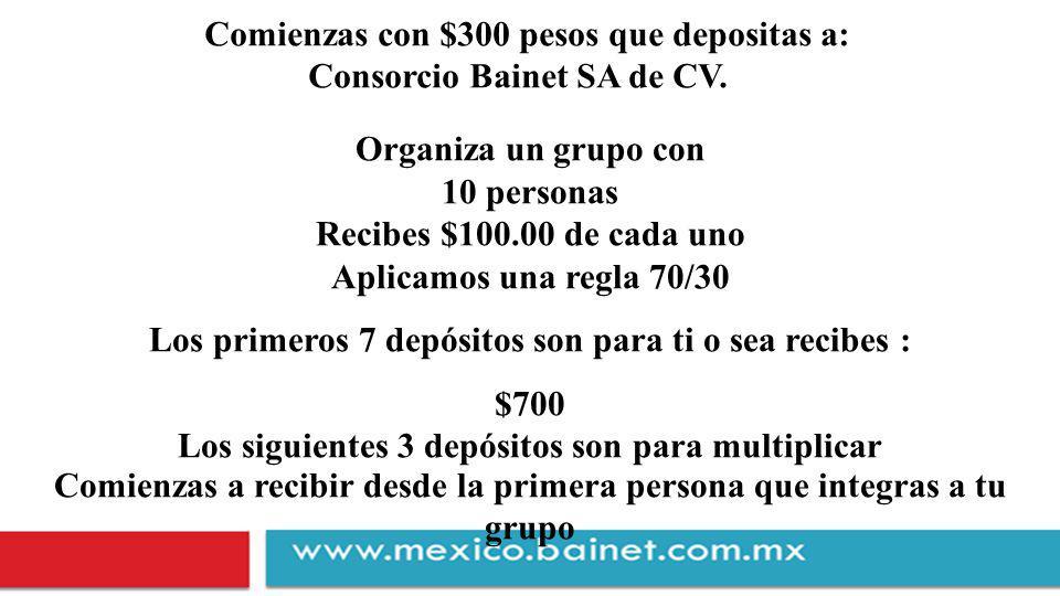 Comienzas con $300 pesos que depositas a: Consorcio Bainet SA de CV.