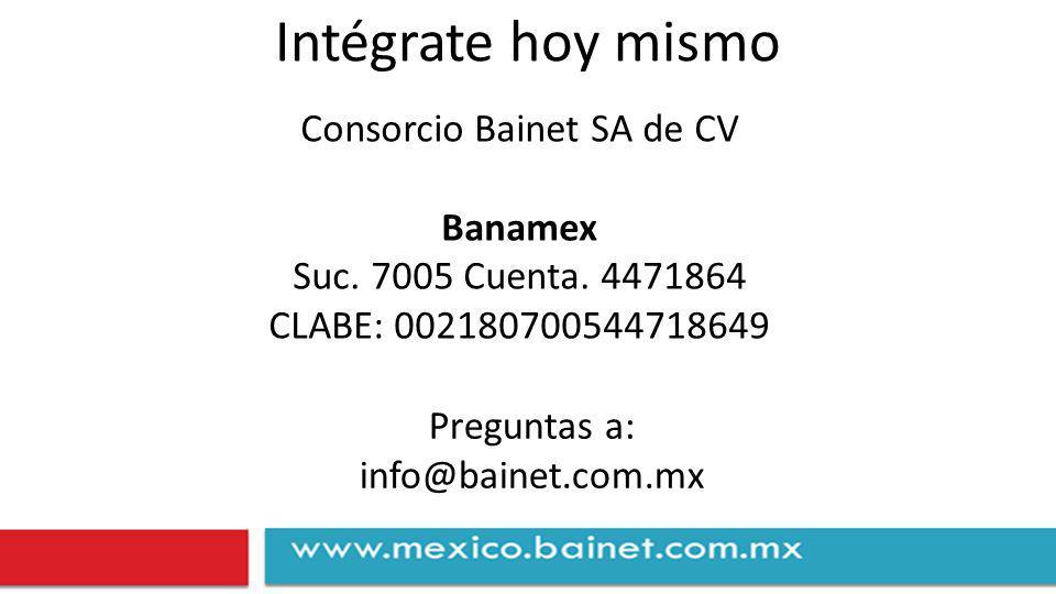 Intégrate hoy mismo Consorcio Bainet SA de CV