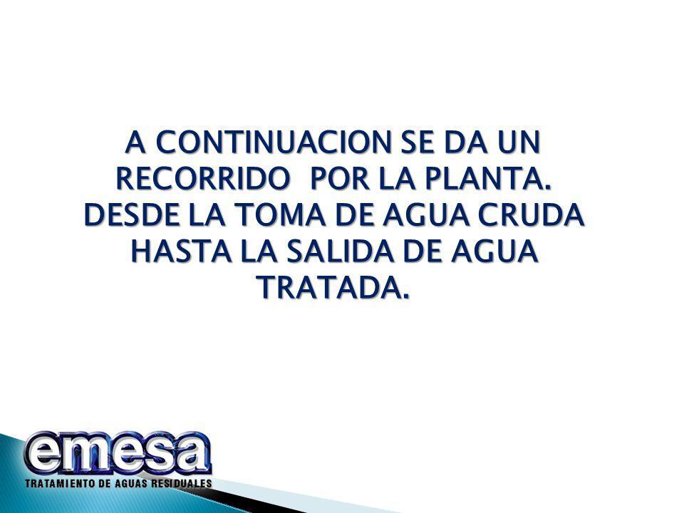A CONTINUACION SE DA UN RECORRIDO POR LA PLANTA.