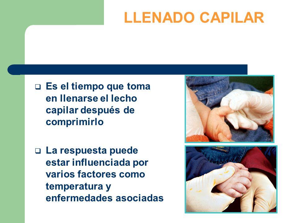 LLENADO CAPILAR Es el tiempo que toma en llenarse el lecho capilar después de comprimirlo.