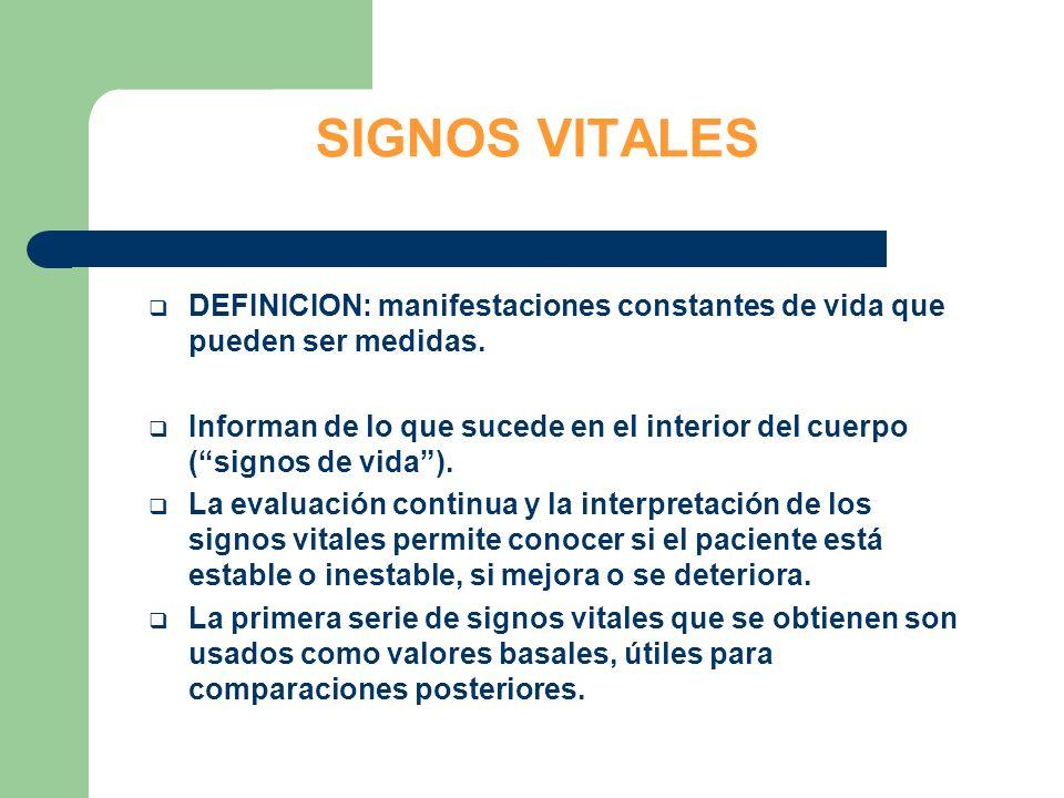 SIGNOS VITALES DEFINICION: manifestaciones constantes de vida que pueden ser medidas.