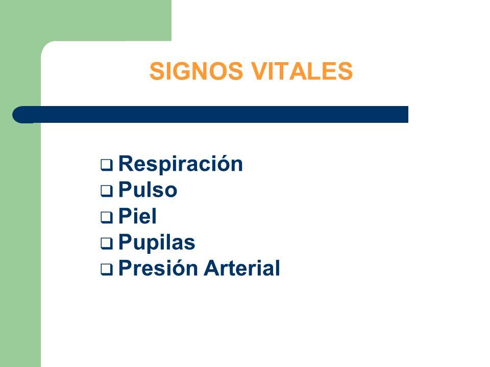 SIGNOS VITALES Respiración Pulso Piel Pupilas Presión Arterial