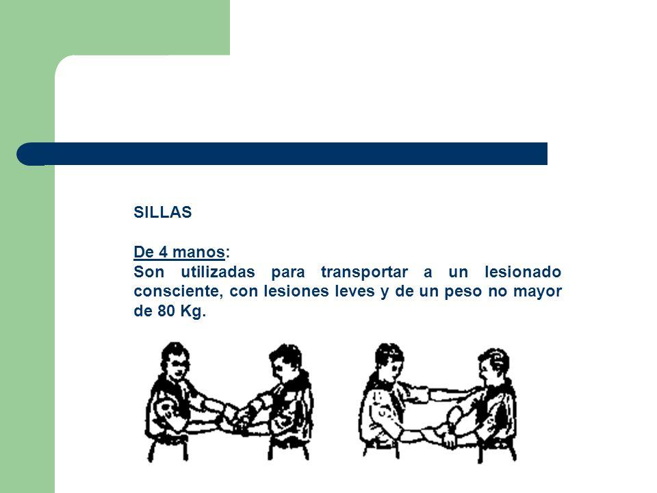 SILLAS De 4 manos: Son utilizadas para transportar a un lesionado consciente, con lesiones leves y de un peso no mayor de 80 Kg.