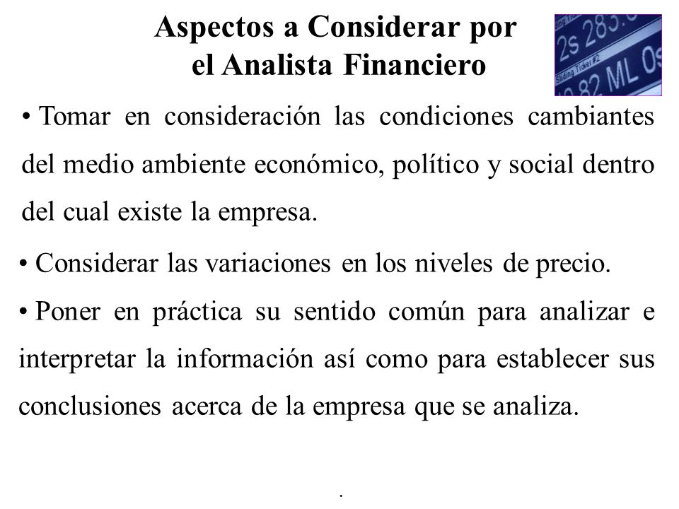 Aspectos a Considerar por el Analista Financiero