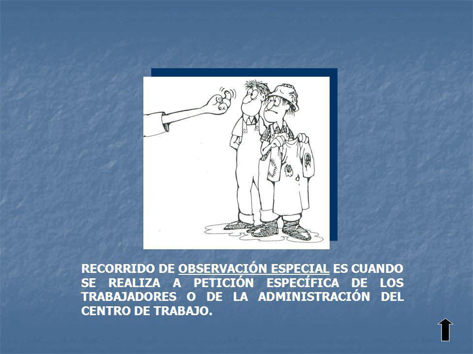 RECORRIDO DE OBSERVACIÓN ESPECIAL ES CUANDO SE REALIZA A PETICIÓN ESPECÍFICA DE LOS TRABAJADORES O DE LA ADMINISTRACIÓN DEL CENTRO DE TRABAJO.