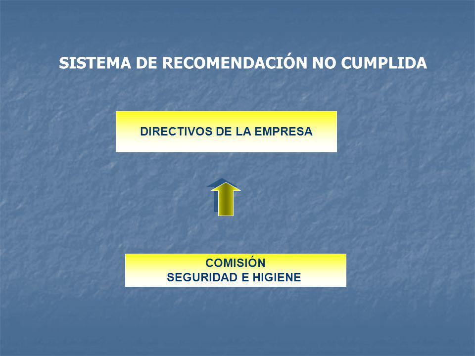 SISTEMA DE RECOMENDACIÓN NO CUMPLIDA DIRECTIVOS DE LA EMPRESA