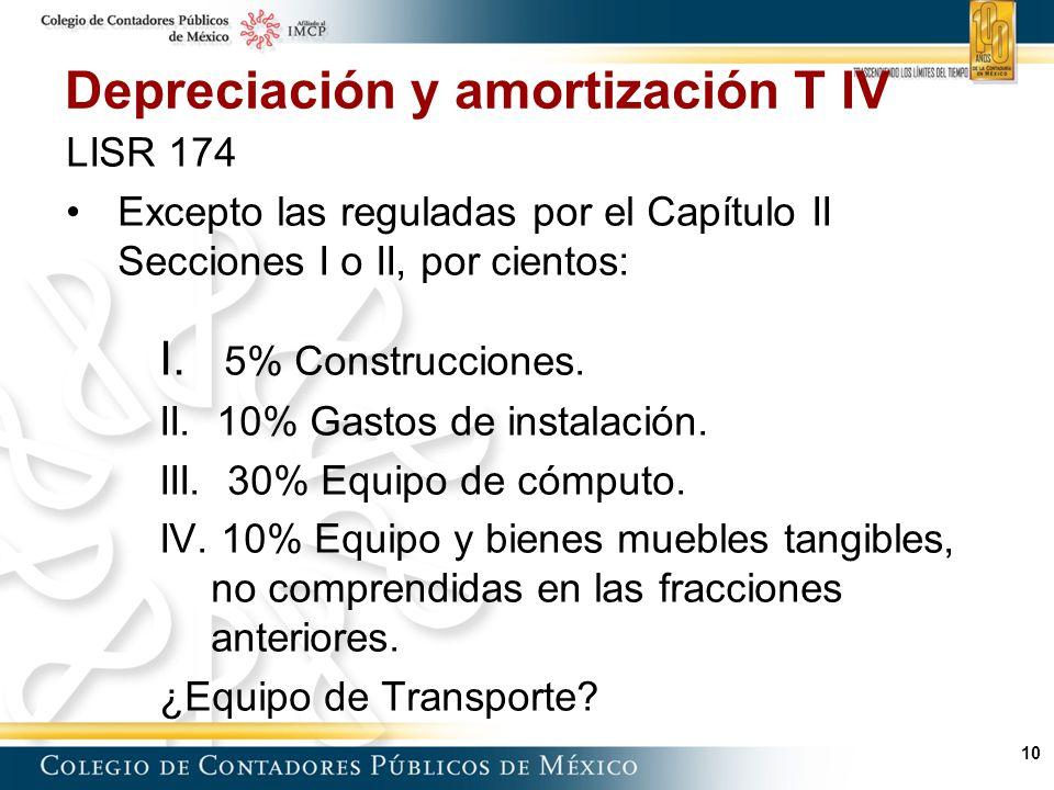 Depreciación y amortización T IV