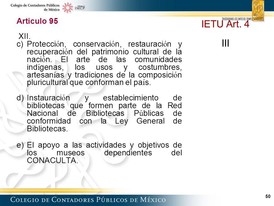 IETU Art. 4 III Articulo 95 XII.