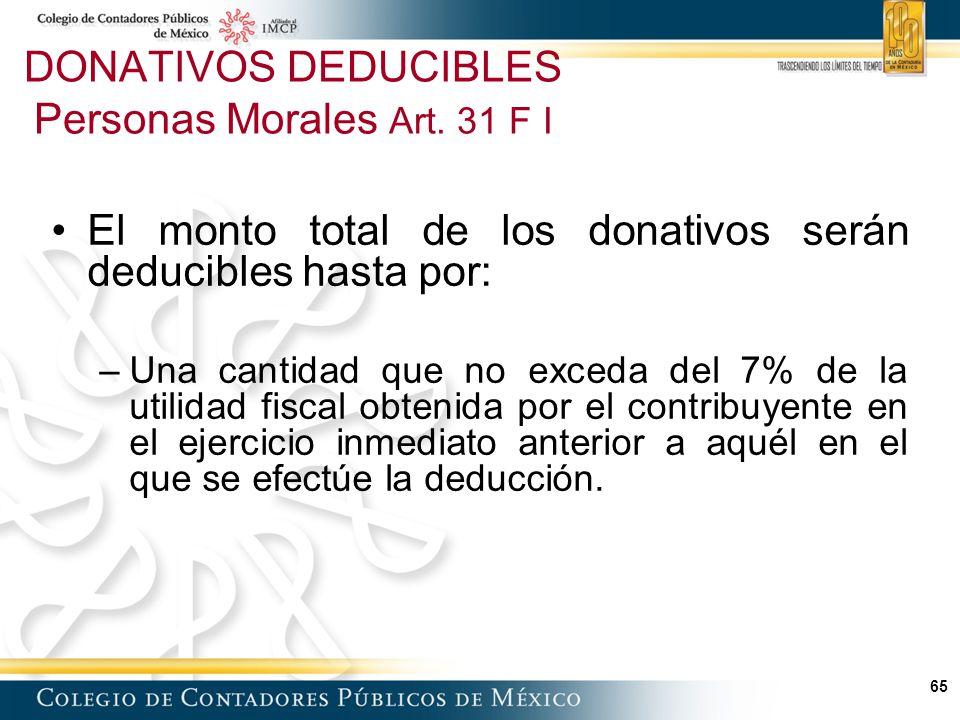 DONATIVOS DEDUCIBLES Personas Morales Art. 31 F I