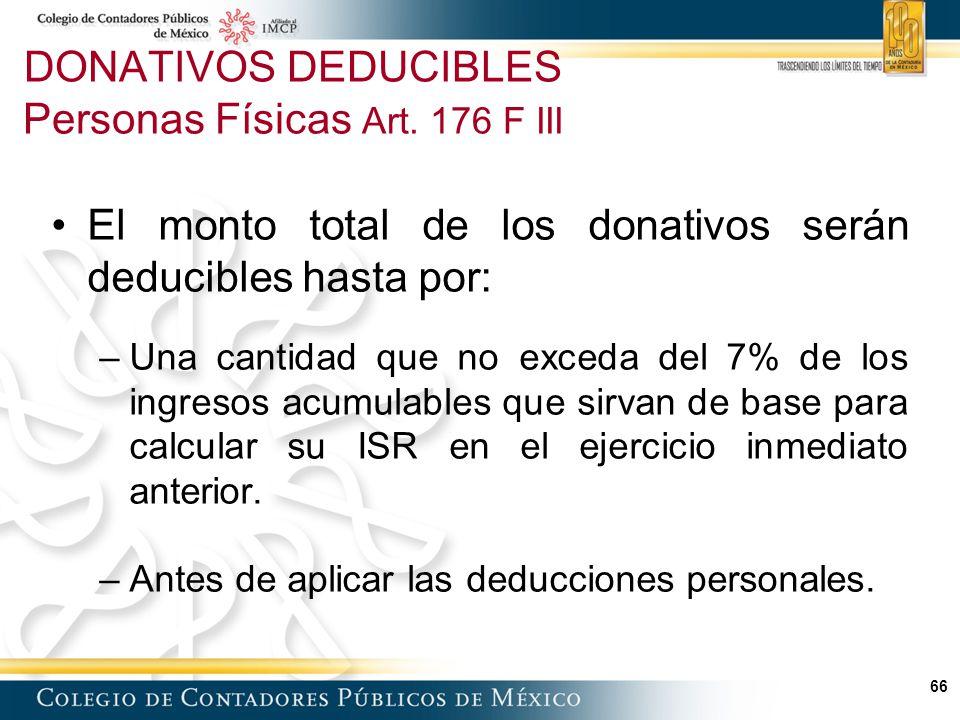 DONATIVOS DEDUCIBLES Personas Físicas Art. 176 F III