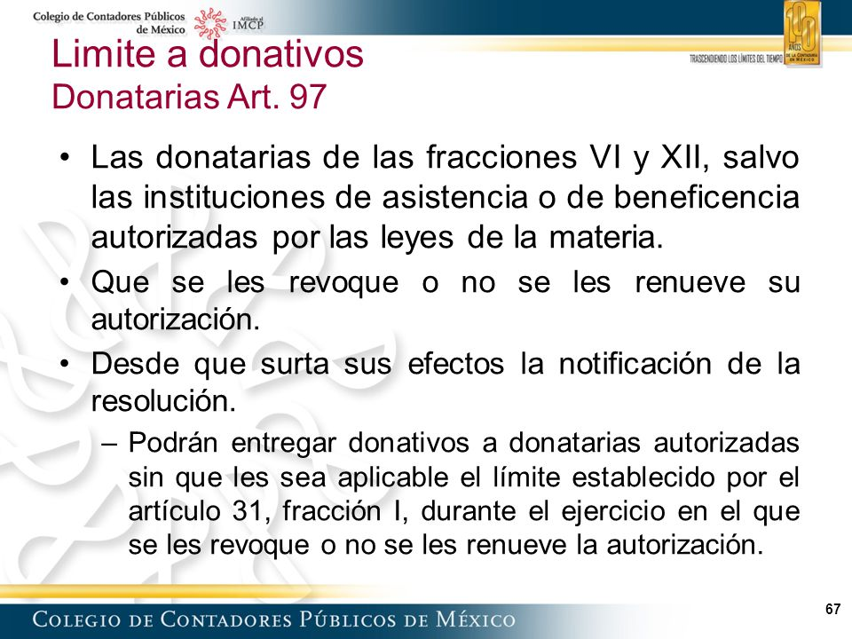 Limite a donativos Donatarias Art. 97