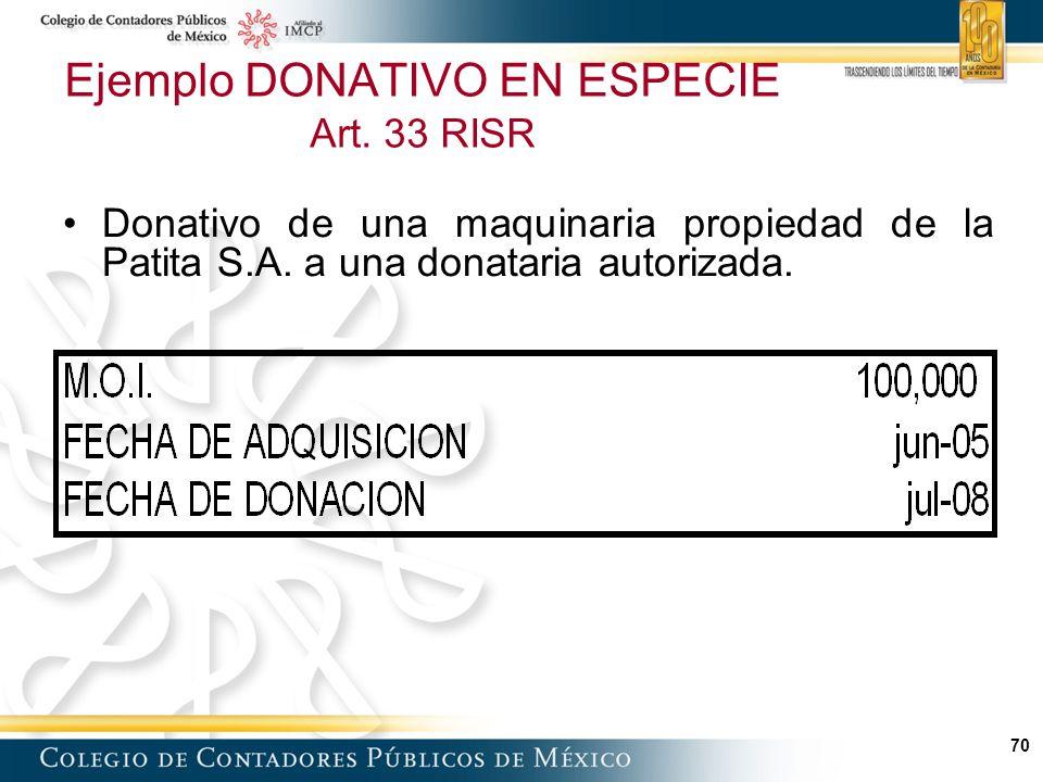 Ejemplo DONATIVO EN ESPECIE Art. 33 RISR