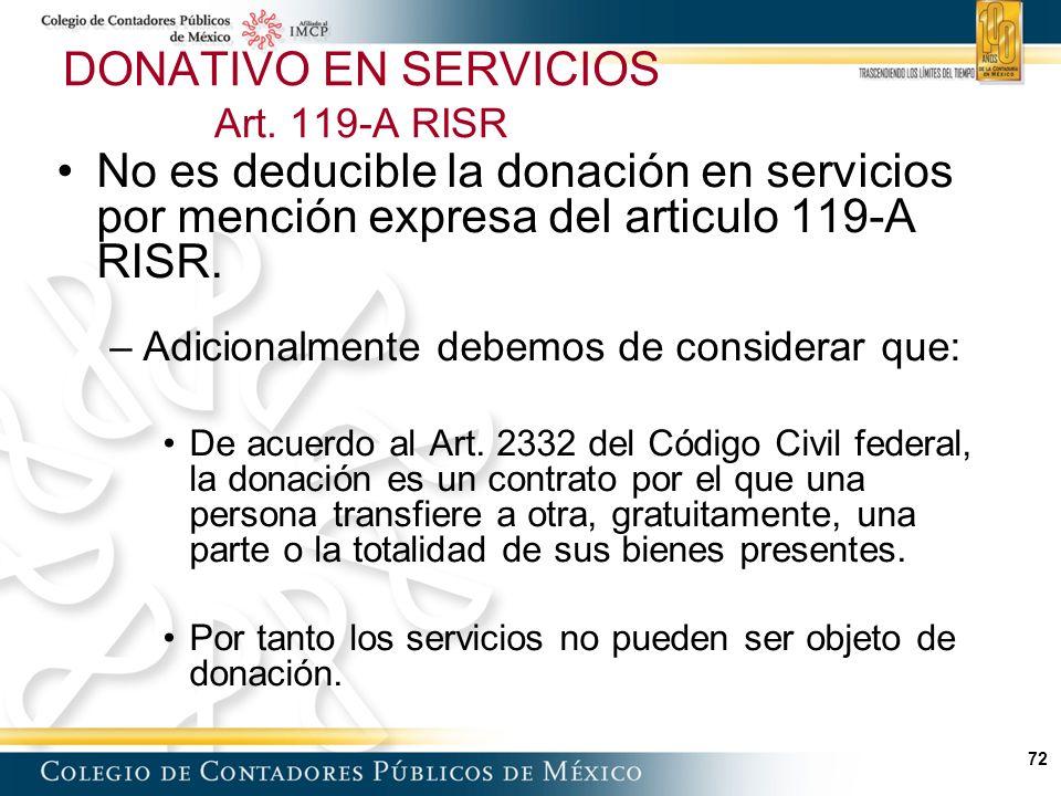 DONATIVO EN SERVICIOS Art. 119-A RISR