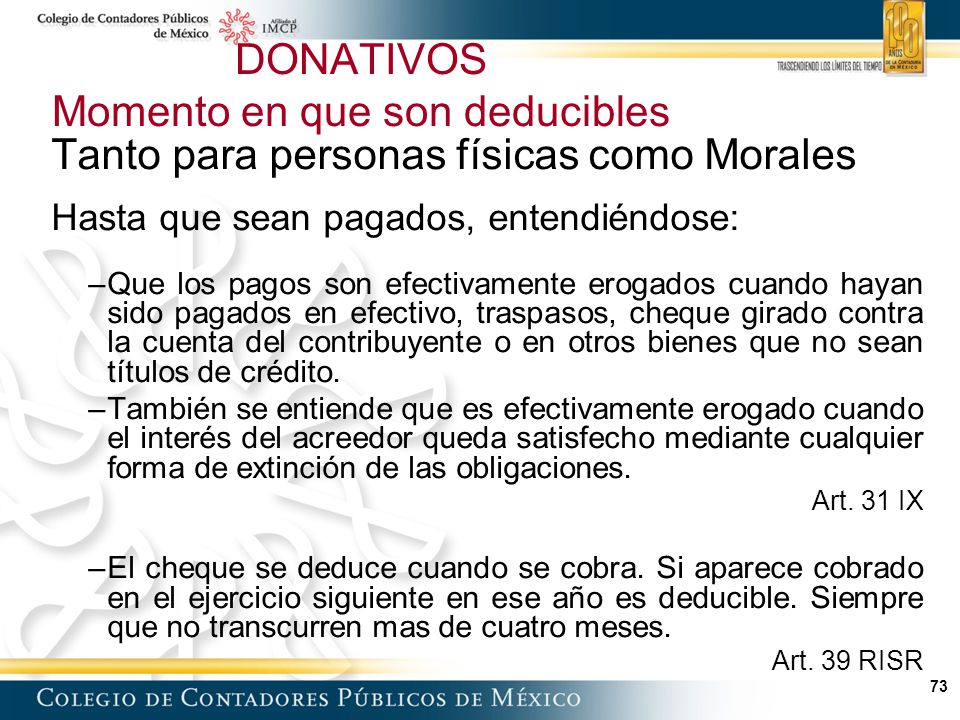 DONATIVOS Momento en que son deducibles