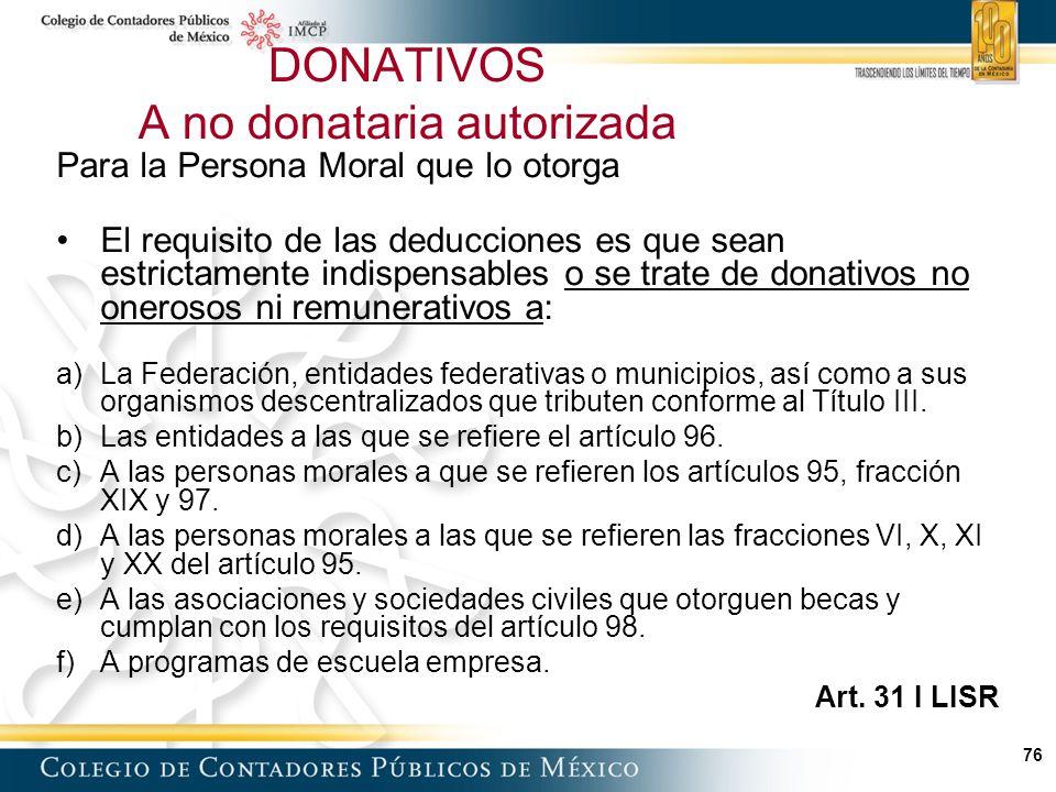 DONATIVOS A no donataria autorizada