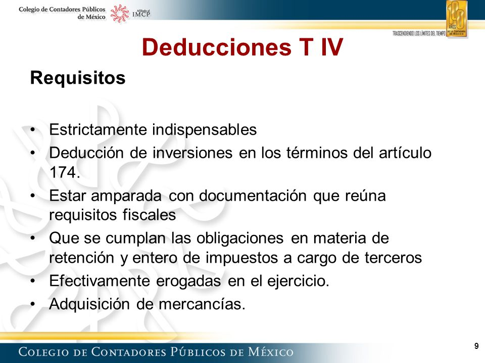 Deducciones T IV Requisitos Estrictamente indispensables