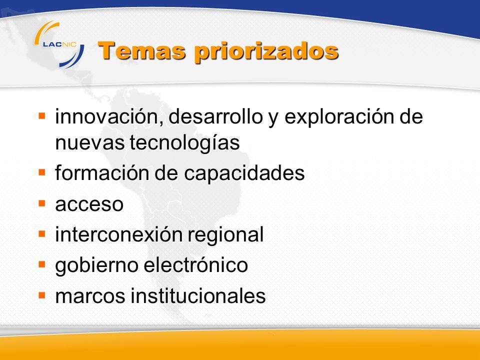 Temas priorizados innovación, desarrollo y exploración de nuevas tecnologías. formación de capacidades.