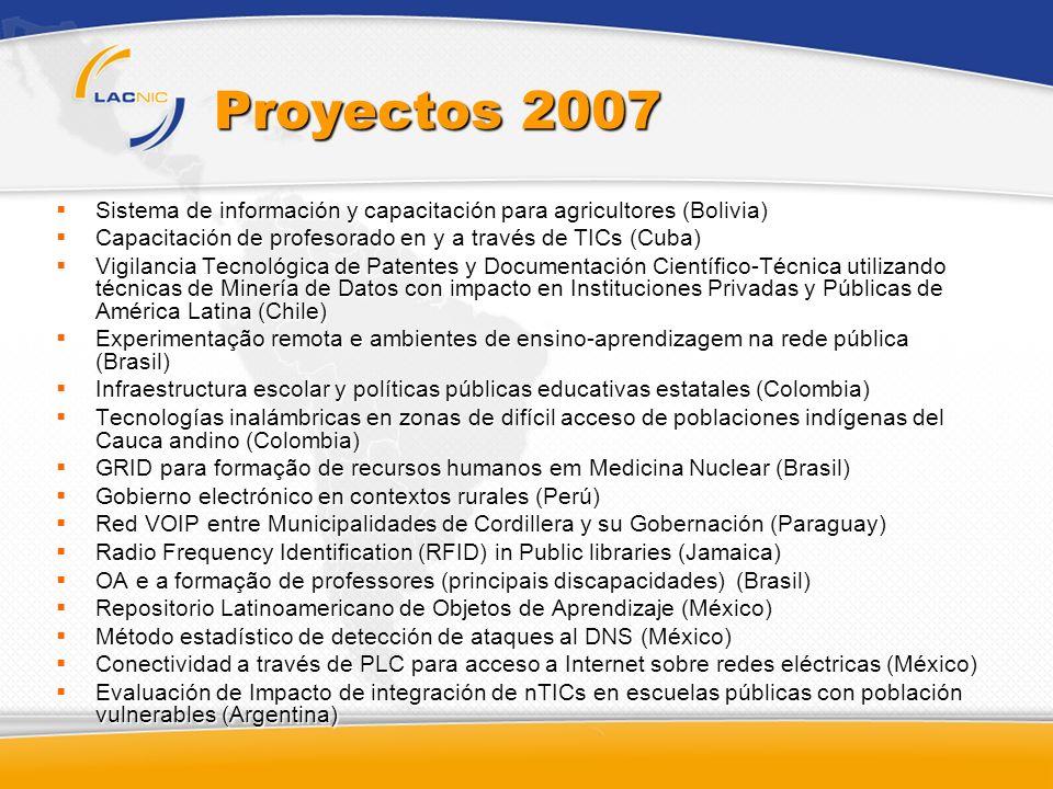 Proyectos 2007 Sistema de información y capacitación para agricultores (Bolivia) Capacitación de profesorado en y a través de TICs (Cuba)