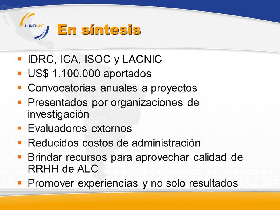 En síntesis IDRC, ICA, ISOC y LACNIC US$ 1.100.000 aportados