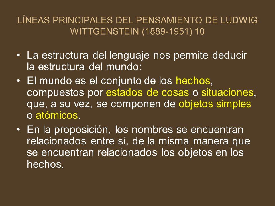 LÍNEAS PRINCIPALES DEL PENSAMIENTO DE LUDWIG WITTGENSTEIN (1889-1951) 10
