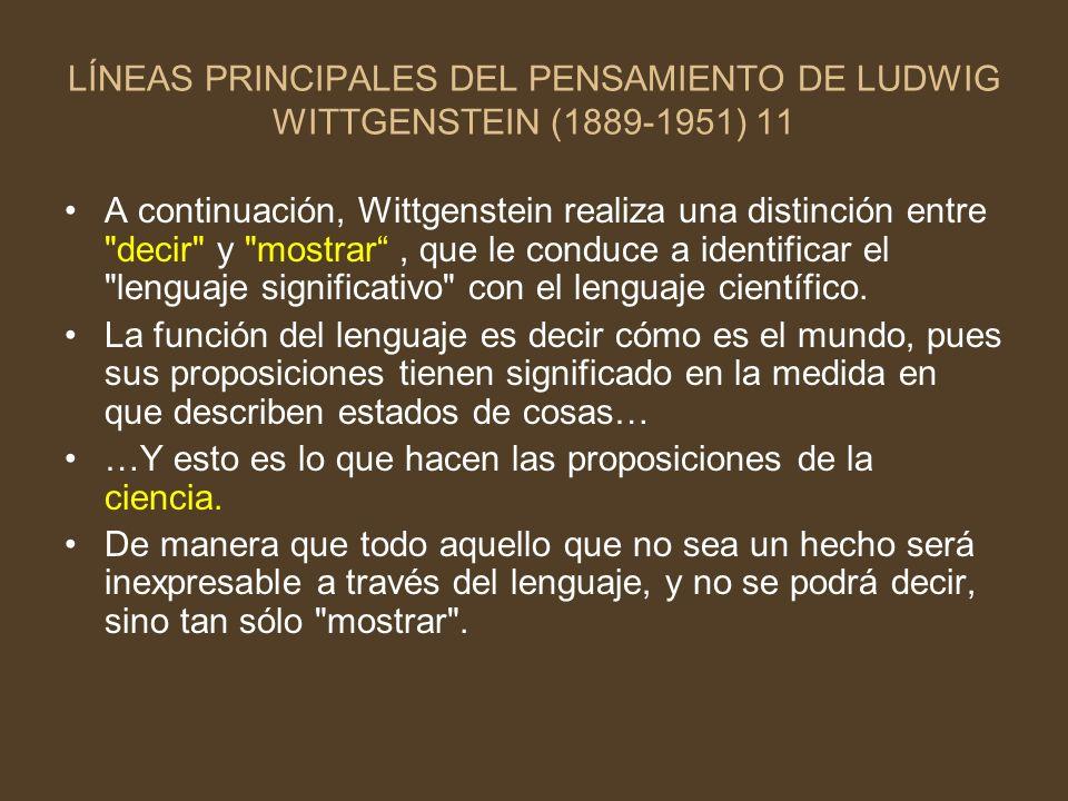 LÍNEAS PRINCIPALES DEL PENSAMIENTO DE LUDWIG WITTGENSTEIN (1889-1951) 11