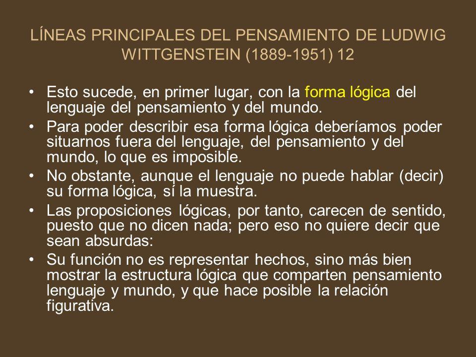 LÍNEAS PRINCIPALES DEL PENSAMIENTO DE LUDWIG WITTGENSTEIN (1889-1951) 12