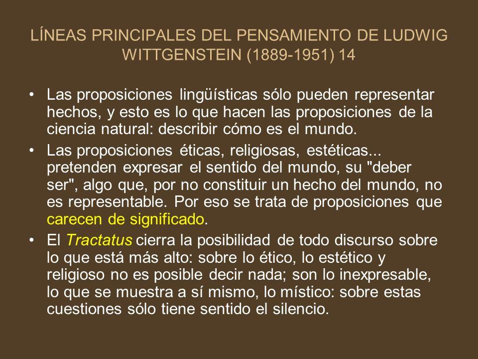LÍNEAS PRINCIPALES DEL PENSAMIENTO DE LUDWIG WITTGENSTEIN (1889-1951) 14