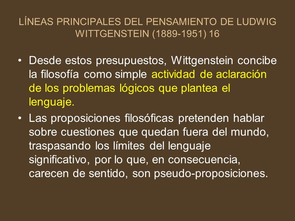 LÍNEAS PRINCIPALES DEL PENSAMIENTO DE LUDWIG WITTGENSTEIN (1889-1951) 16