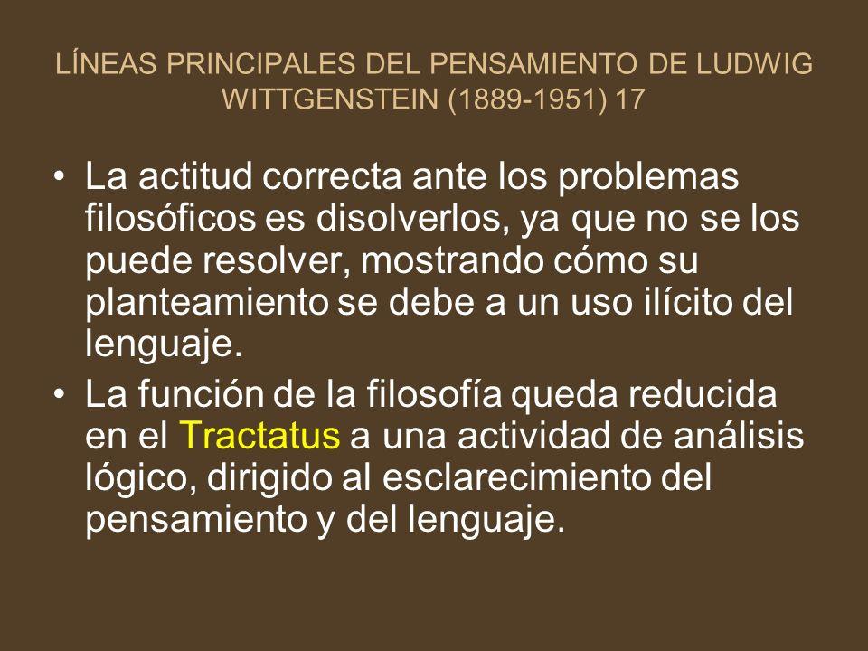 LÍNEAS PRINCIPALES DEL PENSAMIENTO DE LUDWIG WITTGENSTEIN (1889-1951) 17